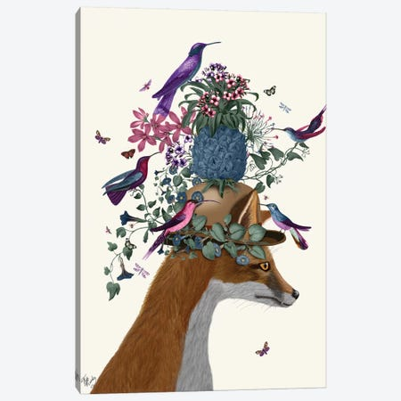 Fox Birdkeeper With Pineapple Canvas Print #FNK1368} by Fab Funky Canvas Wall Art