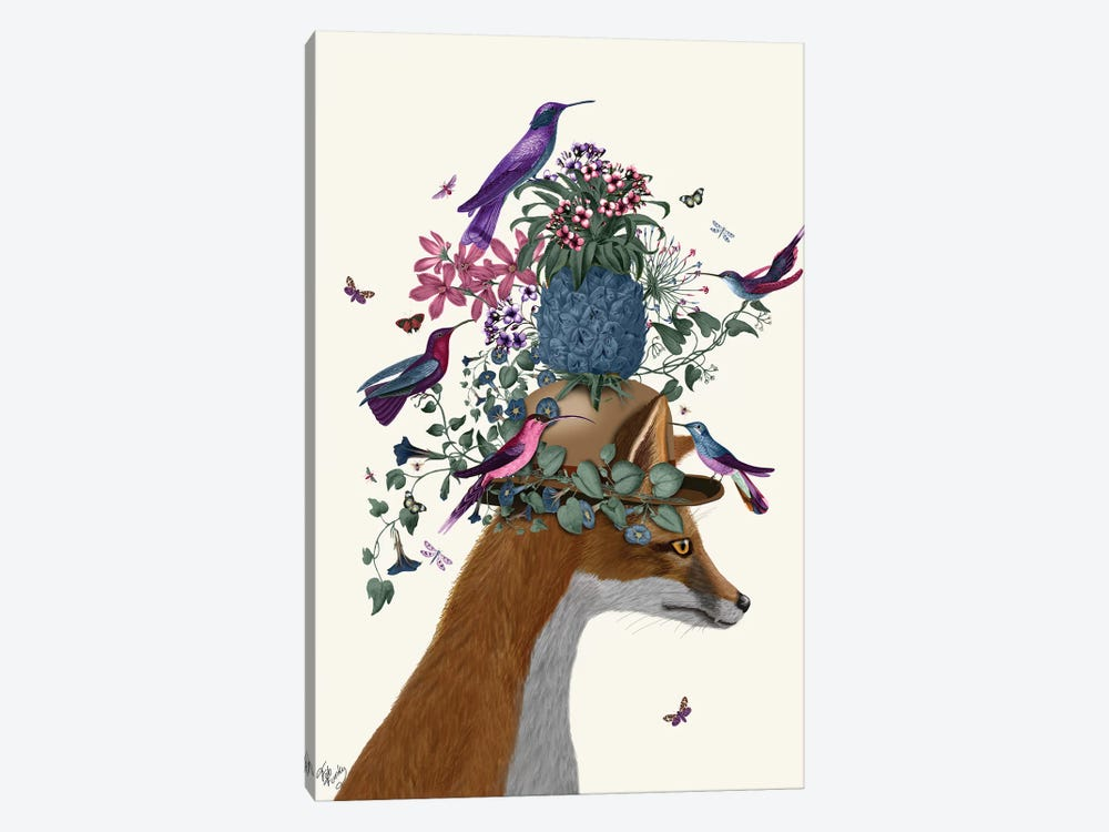 Fox Birdkeeper With Pineapple by Fab Funky 1-piece Canvas Art Print