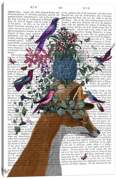 Fox Birdkeeper With Pineapple, With Text Canvas Art Print