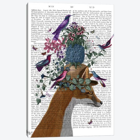 Fox Birdkeeper With Pineapple, With Text Canvas Print #FNK1369} by Fab Funky Canvas Wall Art