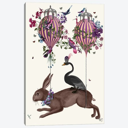 Hare Birdkeeper, Hot Air Balloon Canvas Print #FNK1372} by Fab Funky Art Print