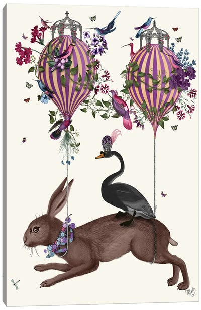 Hare Birdkeeper, Hot Air Balloon Canvas Art Print