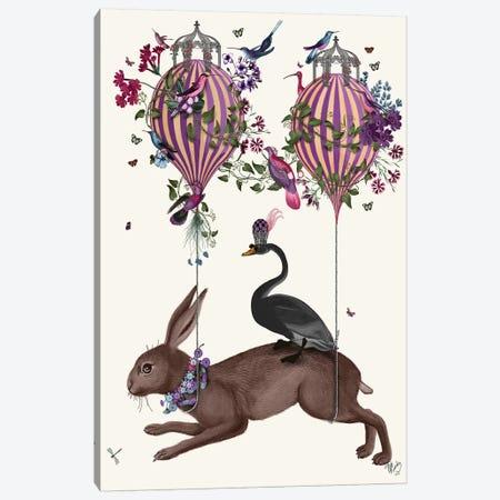 Hare Birdkeeper, Hot Air Balloon Canvas Print #FNK1372} by Fab Funky Art Print