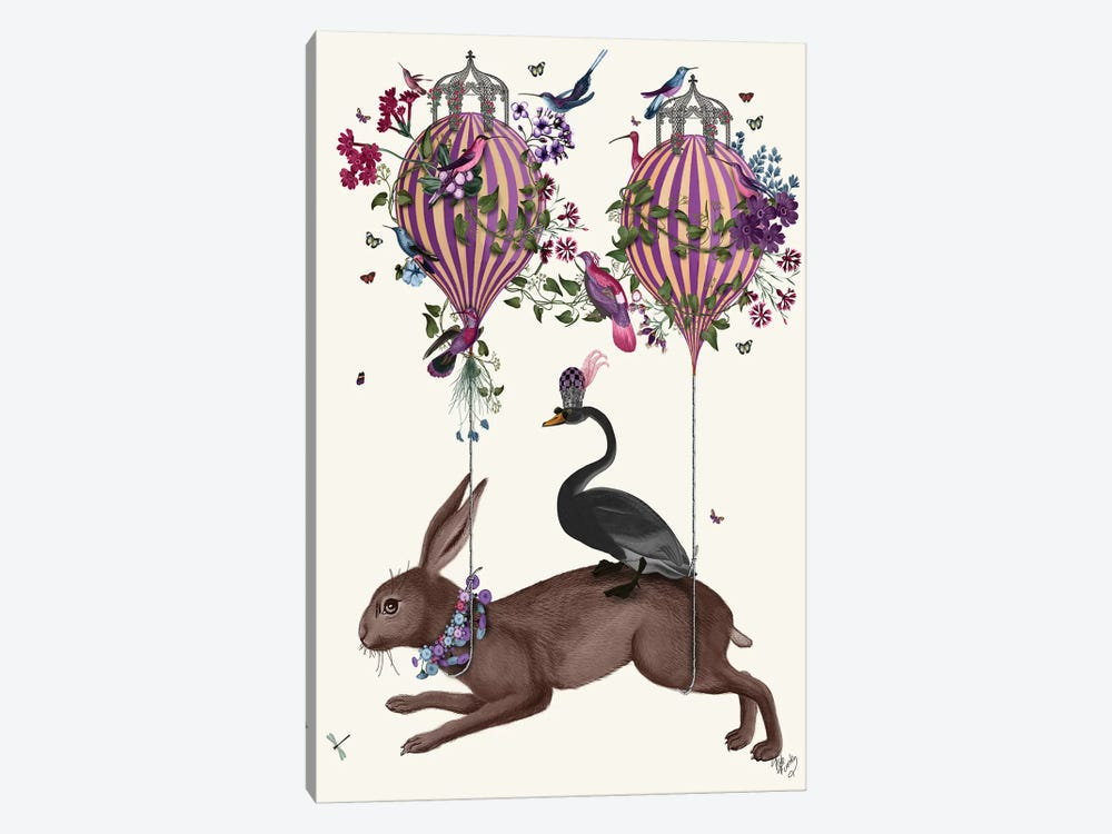 Hare Birdkeeper, Hot Air Balloon by Fab Funky 1-piece Canvas Art