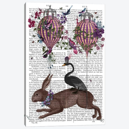 Hare Birdkeeper, Hot Air Balloon, With Text Canvas Print #FNK1373} by Fab Funky Art Print