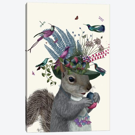 Squirrel Birdkeeper And Blue Acorns Canvas Print #FNK1374} by Fab Funky Canvas Artwork