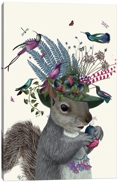Squirrel Birdkeeper And Blue Acorns Canvas Art Print