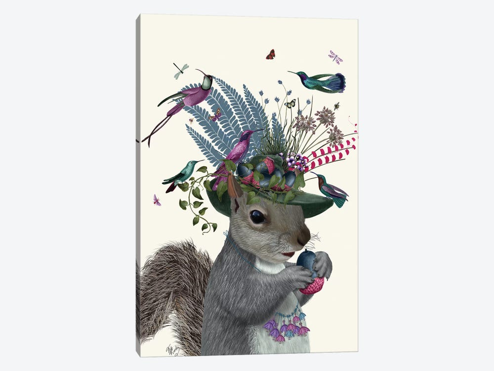 Squirrel Birdkeeper And Blue Acorns 1-piece Canvas Wall Art