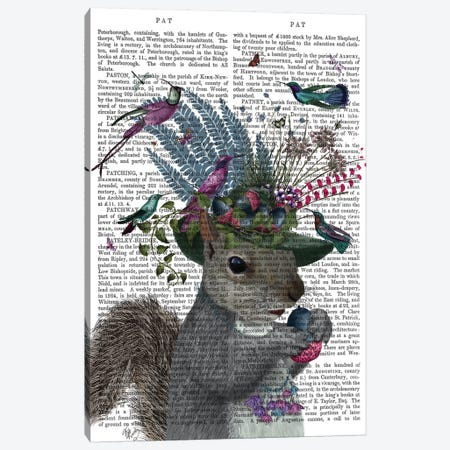 Squirrel Birdkeeper And Blue Acorns, With Text Canvas Print #FNK1375} by Fab Funky Canvas Art