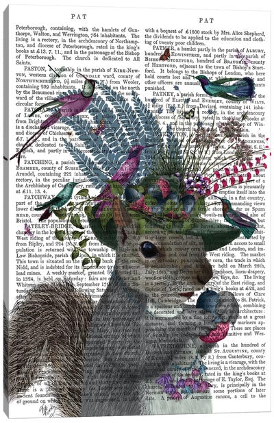 Squirrel Birdkeeper And Blue Acorns, With Text Canvas Art Print