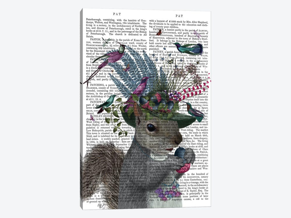 Squirrel Birdkeeper And Blue Acorns, With Text by Fab Funky 1-piece Art Print