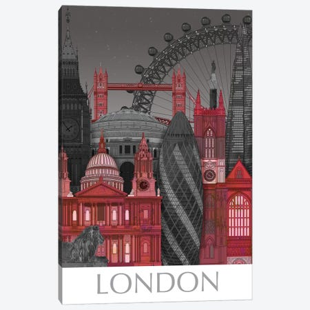 London Elevations By Night Red Canvas Print #FNK1376} by Fab Funky Canvas Wall Art