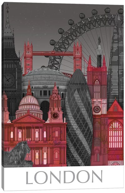 London Elevations By Night Red Canvas Art Print