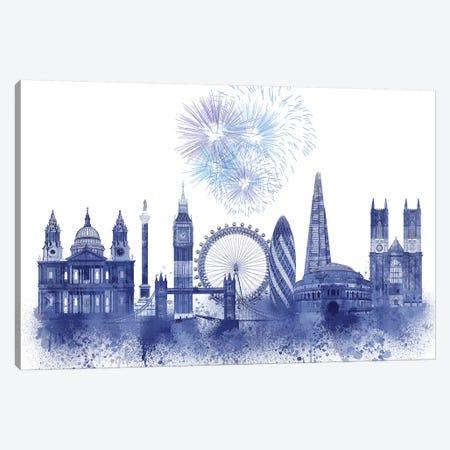 London Skyline Watercolour Splash Blue Canvas Print #FNK1379} by Fab Funky Canvas Print