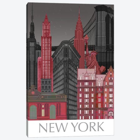 New York Elevations by Night Red 3-Piece Canvas #FNK1380} by Fab Funky Canvas Wall Art