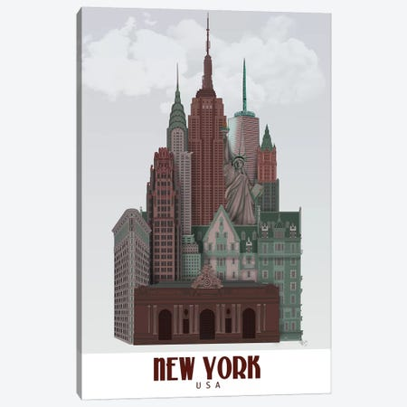New York In Clouds Dark Red and Green Canvas Print #FNK1381} by Fab Funky Canvas Artwork