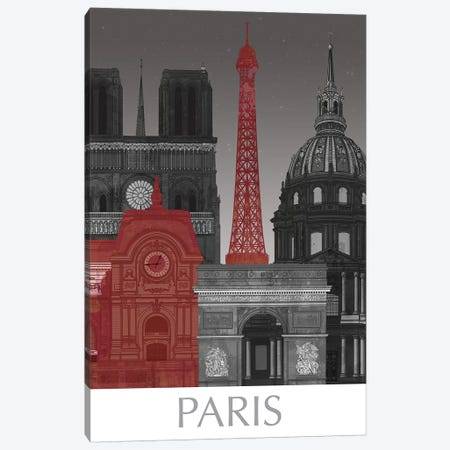 Paris Elevations By Night Red 3-Piece Canvas #FNK1384} by Fab Funky Canvas Art Print
