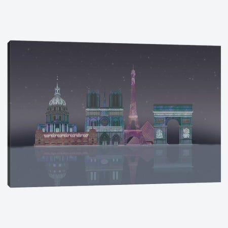 Paris Skyline Night Reflections Canvas Print #FNK1385} by Fab Funky Canvas Art Print