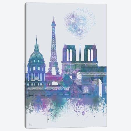 Paris Skyline Watercolour Splash Blue 3-Piece Canvas #FNK1386} by Fab Funky Canvas Art Print