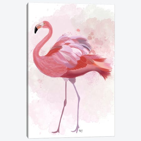 Fluffy Flamingo 1 Canvas Print #FNK1387} by Fab Funky Canvas Art Print