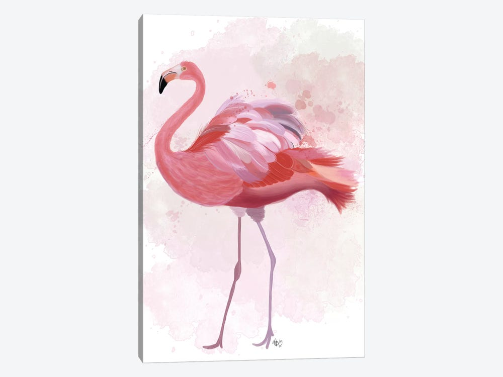 Fluffy Flamingo 1 1-piece Canvas Art
