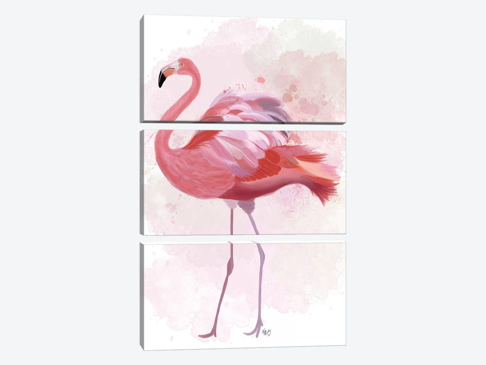 Fluffy Flamingo 1 3-piece Canvas Art