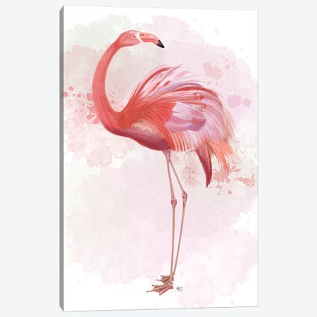 Fluffy Flamingo 3 Canvas Print #FNK1389} by Fab Funky Canvas Art