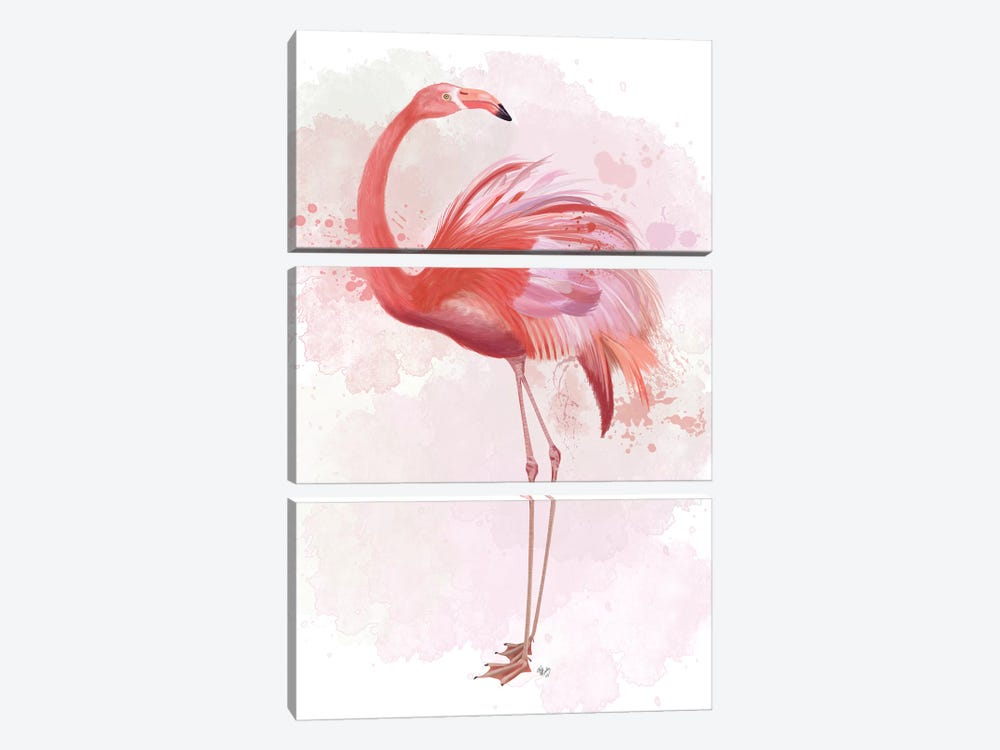 Fluffy Flamingo 3 by Fab Funky 3-piece Canvas Artwork