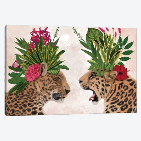 Hot House Leopards, Pair, Pink Green Canvas Print #FNK1395} by Fab Funky Canvas Artwork