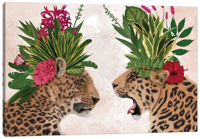 Hot House Leopards, Pair, Pink Green Canvas Art Print