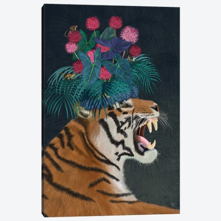 Hot House Tiger I Canvas Print #FNK1396} by Fab Funky Canvas Art
