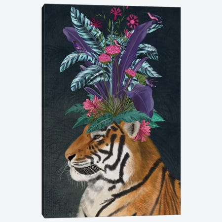 Hot House Tiger II Canvas Print #FNK1397} by Fab Funky Canvas Wall Art