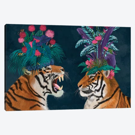 Hot House Tigers, Pair, Dark Canvas Print #FNK1398} by Fab Funky Art Print