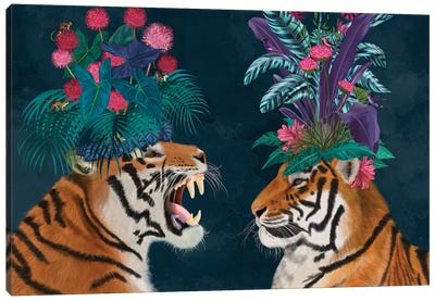 Hot House Tigers, Pair, Dark Canvas Art Print