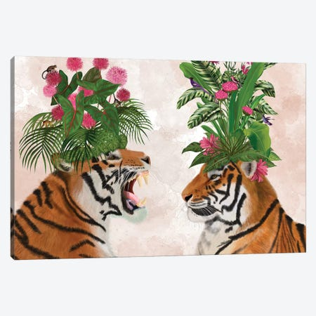 Hot House Tigers, Pair, Pink Green Canvas Print #FNK1399} by Fab Funky Canvas Print