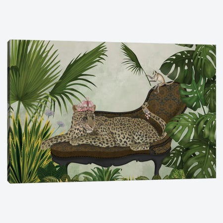 Leopard Chaise Longue Canvas Print #FNK1400} by Fab Funky Art Print
