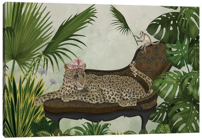 Leopard Chaise Longue Canvas Art Print