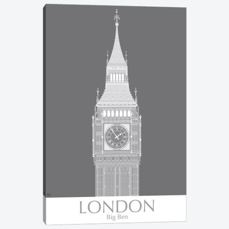 London Big Ben Monochrome Canvas Print #FNK1403} by Fab Funky Canvas Art Print
