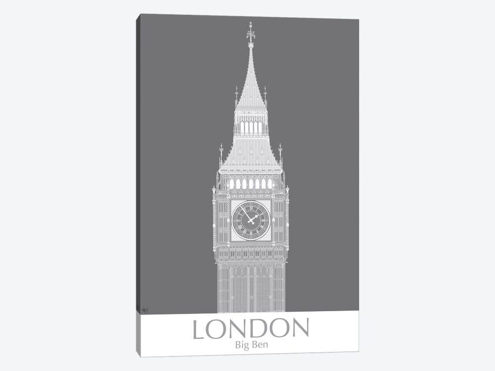 London Big Ben Monochrome by Fab Funky 1-piece Art Print