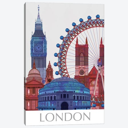 London Landmarks , Red Blue I Canvas Print #FNK1405} by Fab Funky Canvas Wall Art
