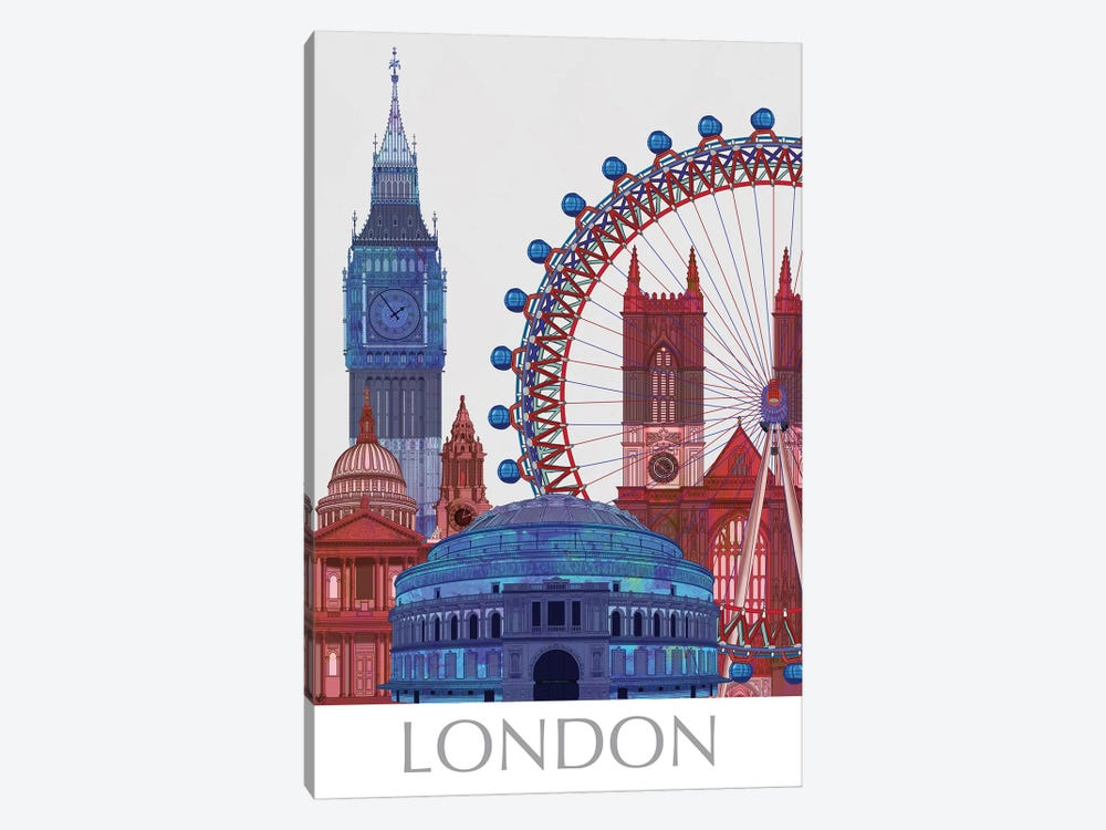 London Landmarks , Red Blue I by Fab Funky 1-piece Art Print