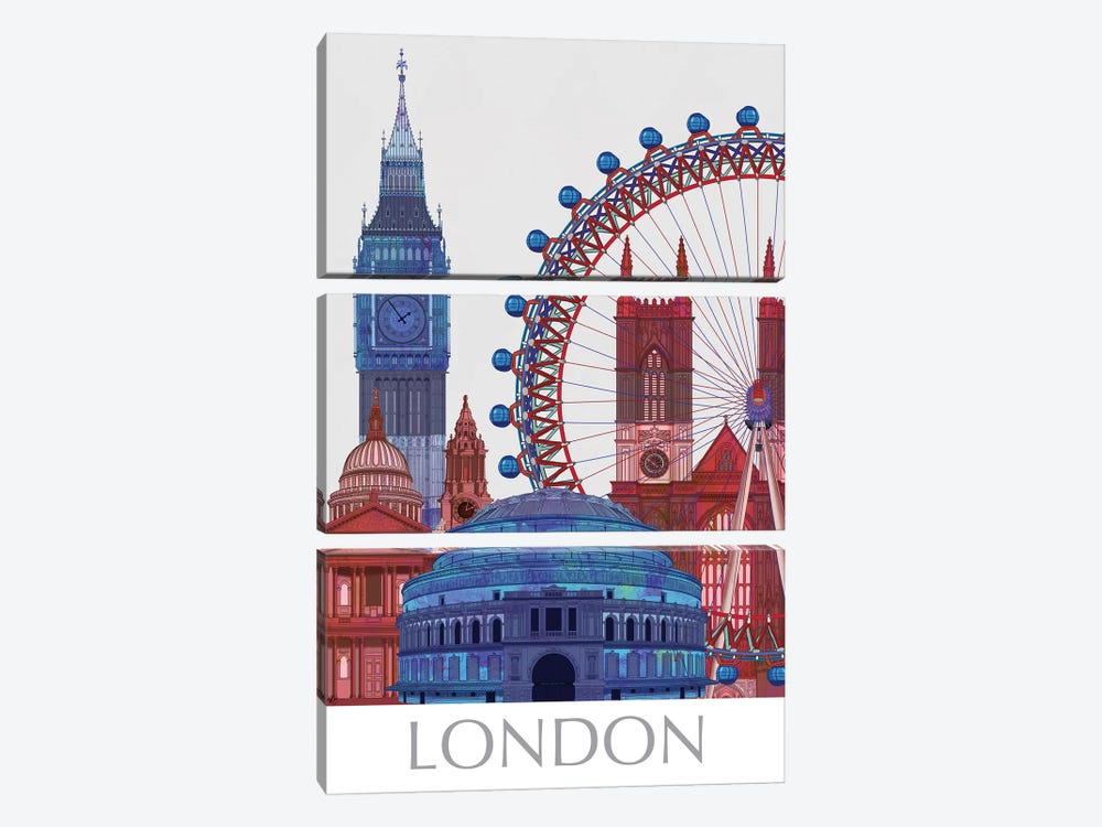 London Landmarks , Red Blue I by Fab Funky 3-piece Art Print