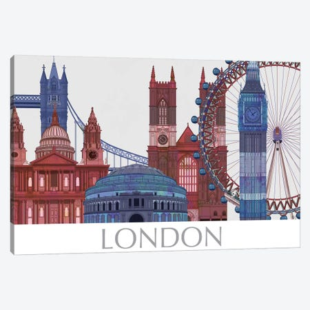 London Landmarks , Red Blue II Canvas Print #FNK1406} by Fab Funky Canvas Artwork