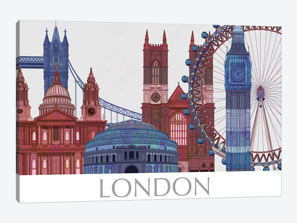 London Landmarks , Red Blue II by Fab Funky 1-piece Canvas Artwork