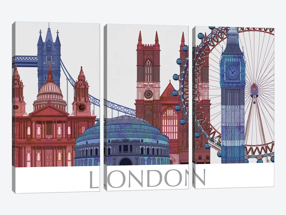 London Landmarks , Red Blue II by Fab Funky 3-piece Canvas Wall Art