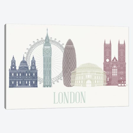 London Skyline I Canvas Print #FNK1407} by Fab Funky Canvas Art