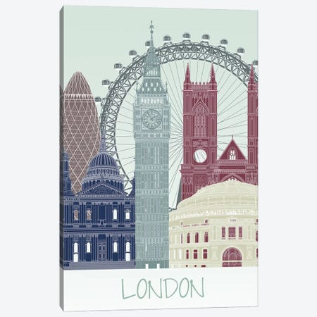 London Skyline II Canvas Print #FNK1408} by Fab Funky Canvas Print