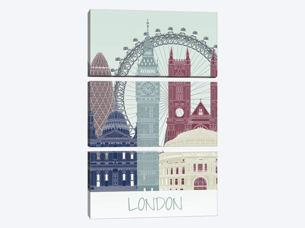 London Skyline II by Fab Funky 3-piece Canvas Art