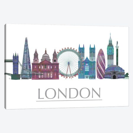 London Skyline Coloured Buildings Canvas Print #FNK1409} by Fab Funky Canvas Print