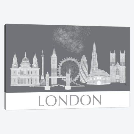 London Skyline Monochrome Canvas Print #FNK1410} by Fab Funky Canvas Wall Art